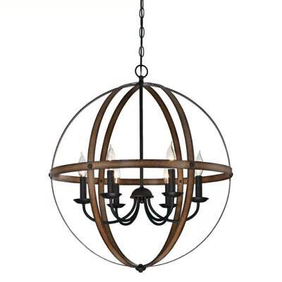 Modern Farmhouse Chandelier Orb Pendant Lamp Round Light Fixture Rustic Globe