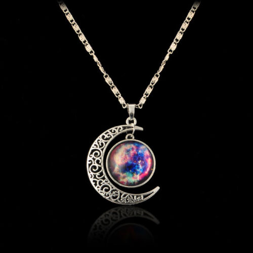 Moonstone Necklaces: Fantasy Moon Star Color Nebula Moonstone Constellation