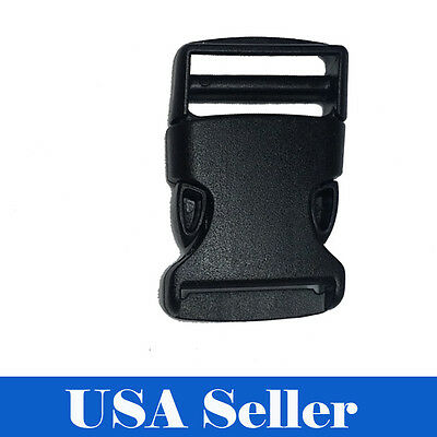 10X 1.5 Inch Plastic Black Strap Webbing Side Release Buckle Clasp Craft 3.8cm  ()