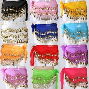 Belly-Dance-Hip-Skirt-Scarf-Wrap-Belt-Hipscarf-with-Gold-Silver-Coins-Kids