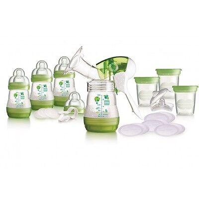 MAM Breast Feeding Starter Set Breastpump & Anti Colic Bottles Green - NEW