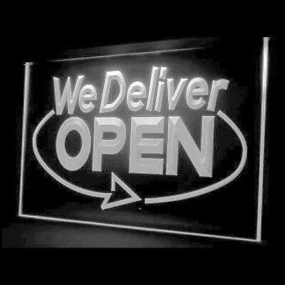 Deliver Neon Sign - 110020 We Deliver Open Services Cafe Fastfood Display LED Light Sign