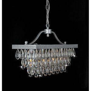 Silver Clarissa Glass Crystal Drop 3 Light Rectangular