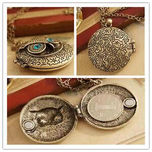 Hot Sell ~ Vintage Brass Owl Locket Long Chain Pendant Blue Zircon Eye Necklace