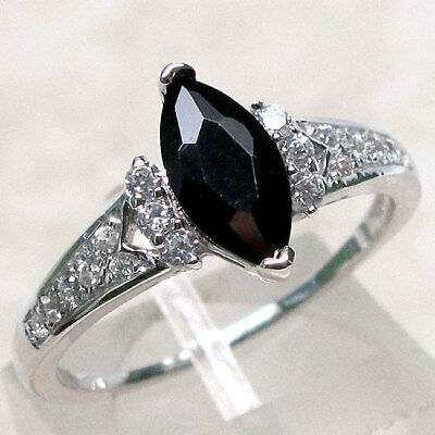 Shiny 1 Ct Black Onyx 925 Sterling Silver Ring Size 5 10