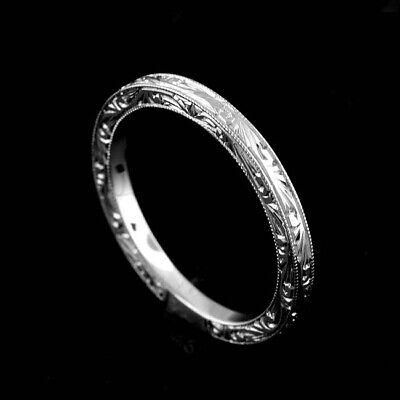 Art Deco Style Flat Platinum 950 Engraved Crafted Milgrain Wedding Band 2mm -