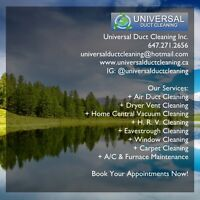 Air Duct Cleaning, Central Vaccuum Cleaning and etc.