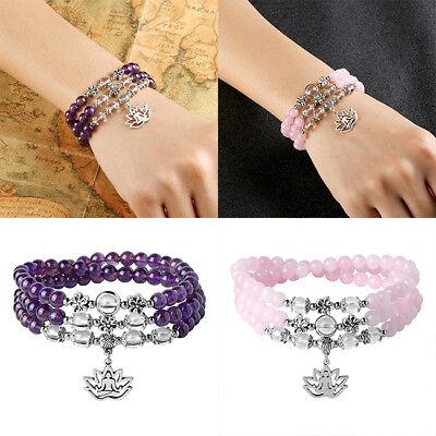 Christmas Bracelets (Lotus Yoga Pendant Bracelet Adjustable Stretch Buddha Bead Wristband Xmas)