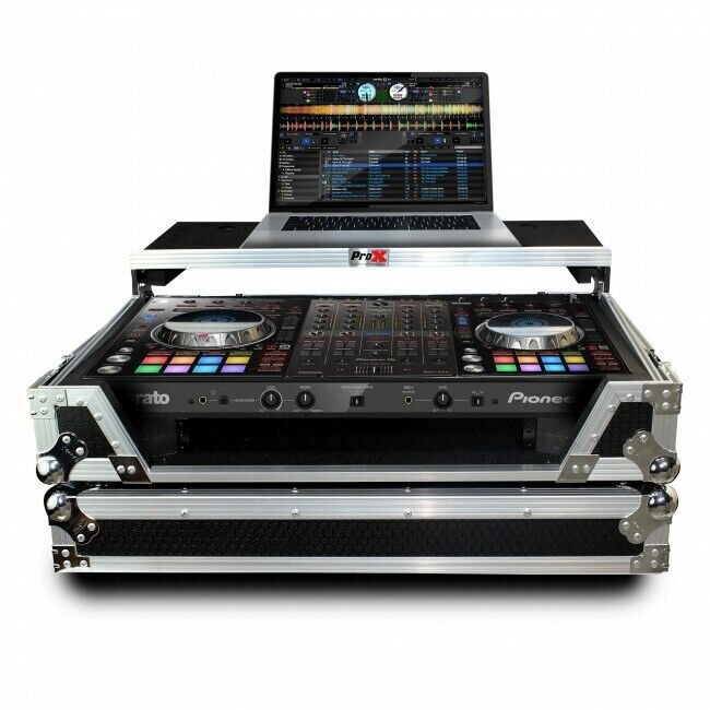Pro X Flight Case W/Sliding Laptop Shelf For Pioneer DDJ-SX3 DDJ-RX