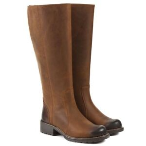 BNIB CLARKS ORINOCO EAVE LONG TAN RIDING LEATHER KNEE HIGH BOOTS UK 6 EUR 39.5