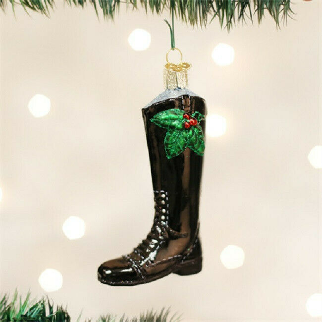 Old World Christmas ENGLISH RIDING BOOT Horse Blown Glass Ornament