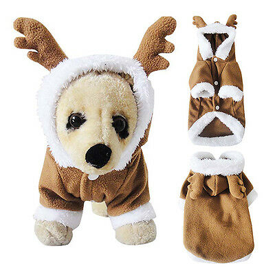 Pet Puppy Dog Christmas Clothes Reindeer Costume Coat Apparel Hoodie Xmas Gift ()