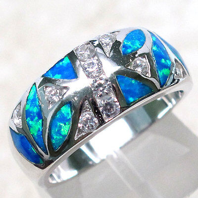 AMAZING BLUE OPAL 925 STERLING SILVER RING SIZE 5-10 Blue Opal Sterling Ring