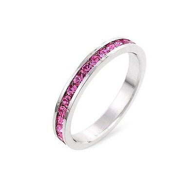 - 1.5 CT PINK CUBIC ZIRCONIA STACKABLE SET ETERNITY RING SIZE 5 6 7 8 9 10
