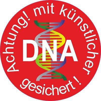 5 Aufkleber Achtung! mit künstlicher DNA gesichert 37 mm, Alarm Überwachung 5115