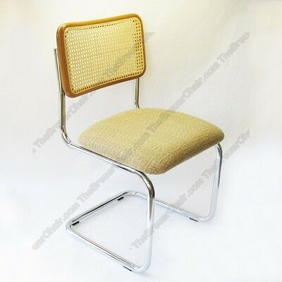 New Marcel Breuer Cesca Side Chair Cushion Seat W  Honey Cane Back Made In Italy
