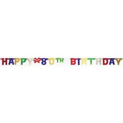 Happy 80th Birthday 6 Foot Jointed Banner Party Decoration (80th Birthday Banners)