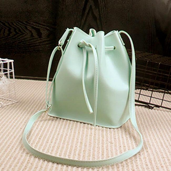 Drawstring Bucket Sling Bag PU Faux Leather Adjustable Strap - Green