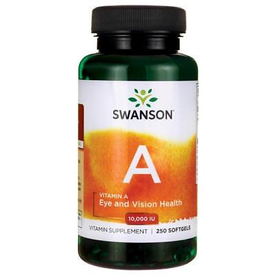 Swanson Vitamin A 10,000iu, 250 Softgels USP approved Produced from Fish (Usp Fish Oil)