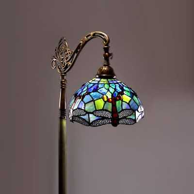 - Tiffany Style Floor Lamp Glass Light Dragonfly Vintage Stained Antique Modern