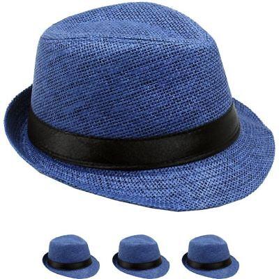 SMALL BLUE FEDORA HAT MEN WOMEN Straw Trilby Hat 54C Gangster CHRISTMAS GIFT - Christmas Fedora