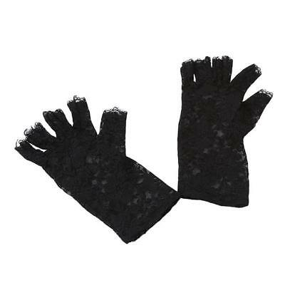 Black Lace Fingerless Gloves (Black Lace Gloves Semi Fingerless Stylish Sunscreen Lace Mittens Gloves)