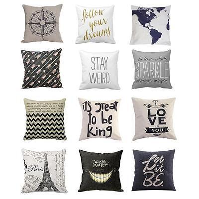 """Fashion 18"""" Linen Cotton Throw Pillow Case Cushion Cover Home Sofa Art Decor Hot"""