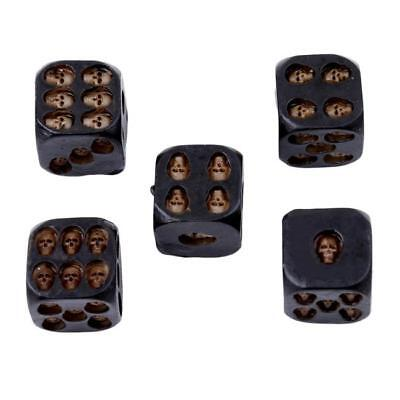 Decorative Black Resin 6-Sided Skull Dice Set of 5  Entertainment Games Lin