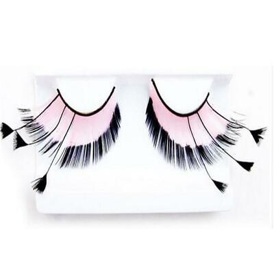 Party Long Red Black Costume Feather Fake False Eyelashes Eye lashes JO - Black Feather Eyelashes