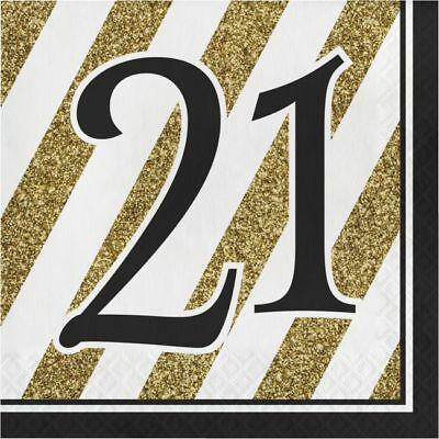 Black and Gold 21st Birthday Lunch Napkins 21 Birthday Party Decorations - Black And Gold Napkins