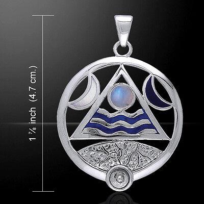 Cuatro Elementos Lunar .925 Colgante de Plata Ley Arcoíris Piedra Peter Stone
