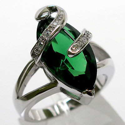 HUGE 6 CT EMERALD MARQUISE CUT 925 STERLING SILVER RING SIZE 5-10