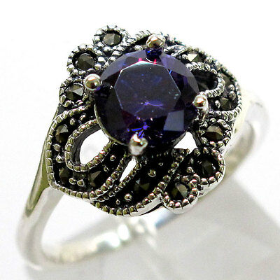 Amethyst Marcasite 925 Silver Ring (AMAZING MARCASITE 2 CT AMETHYST 925 STERLING SILVER RING SIZE)
