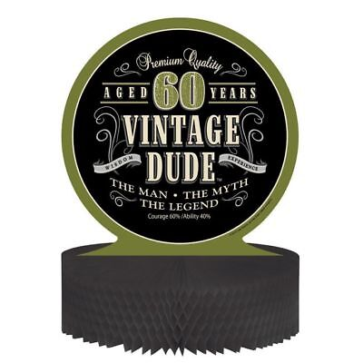 Vintage Dude 60th Birthday Honeycomb Centerpiece The Man Myth Legend Party Decor - Vintage Dude Party Supplies