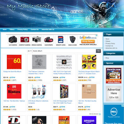 Music Store - Complete Work-at-home Affiliate Website - Amazon Google Adsense