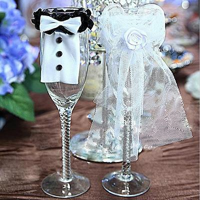 Bride and Groom Wedding Party Wine Glasses Champagne Flutes Cover WT (Bride And Groom Wine Glasses)