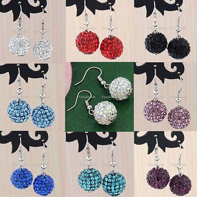 Pair Colorful Crystal Disco Ball Beads Charm Dangle Hook Eardrop Earrings 12mm (Colored Disco Ball)