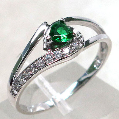 LOVELY EMERALD HEART SHAPE 925 STERLING SILVER RING SIZE - Emerald Shape Ring