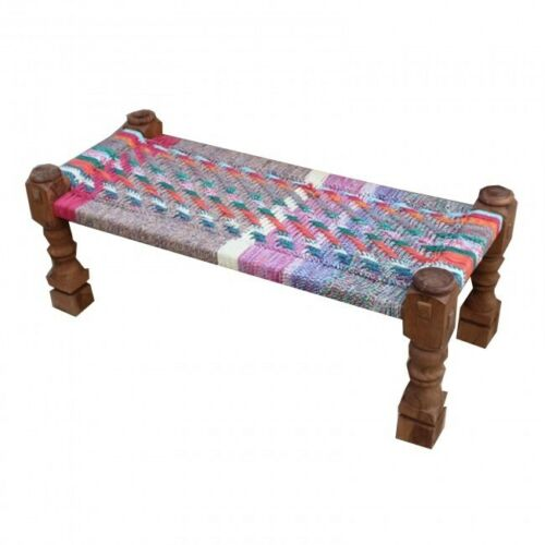 Indian Inspired Tribal Solid Wood Charpai Bench Khat Manjhi Woven Charpoy Daybed