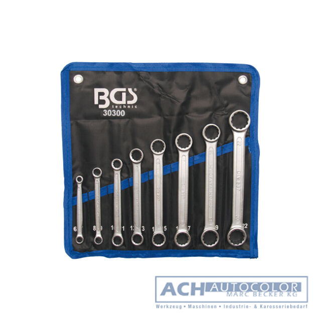 Double Ring Spanner Set, Extra Flat, 6-22 mm, 8 Pieces in Roll-up Case - BGS