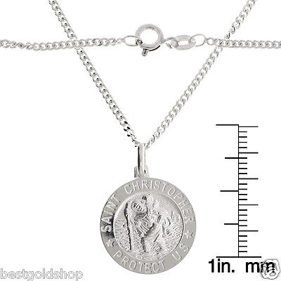 Saint Christopher Medal Pendant Miami Cuban Chain Necklace Real Sterling Silver