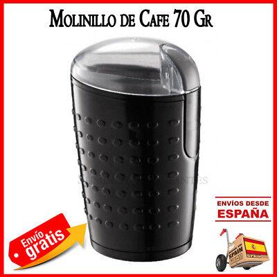 MOLINILLO ELECTRICO DE CAFE O ESPECIAS MOLER GRANOS COFFEE MOLEDOR 70GR NEGRO