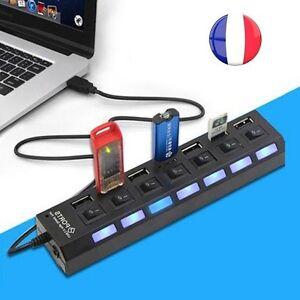 Hub 7 ports multiprise multi chargeur cable usb 2 0 pour ordinateur pc mac linux ebay - Multi chargeur usb ...
