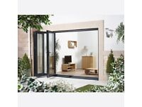 LPD EXTERNAL 1.8M ALUVU (6FT) ALUMINIUM BI-FOLD DOOR SET IN A GREY FINISH (LEFT HAND OPENING)