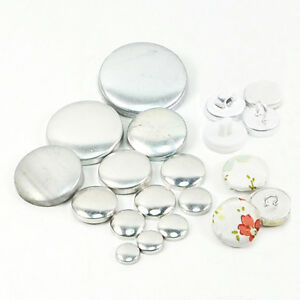 Fabric-Self-Covered-Cover-Buttons-Aluminum-Flat-Plastic-Ring-Back-DIY