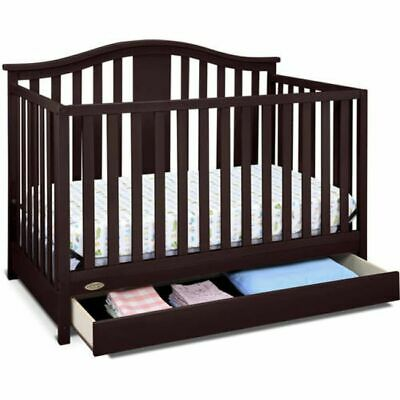 4 in 1 Convertible Baby-to-Toddler Bed Crib with Drawer Brown Nursery Furniture