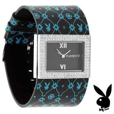 NEW RARE Playboy Watch S Bunny Black Leather Stainless Steel Quartz Ladies Women