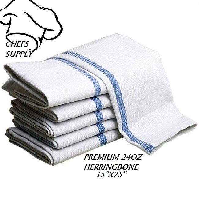 Details about 24 new cotton herringbone blue stripe dish towels lintfree  barber chefs brand