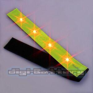 reflective yellow arm leg band red blinking led lights running jogging walking. Black Bedroom Furniture Sets. Home Design Ideas