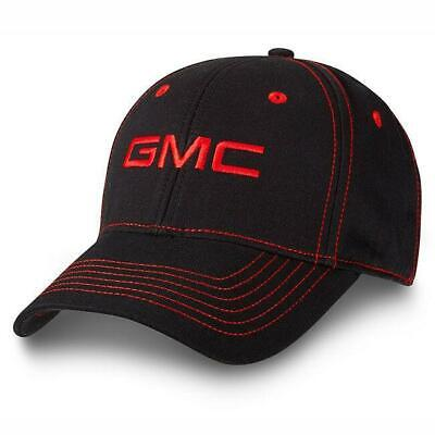 GMC Truck Logo Contrast Stitch Baseball Cap Black / Red Hat - Truck Hats